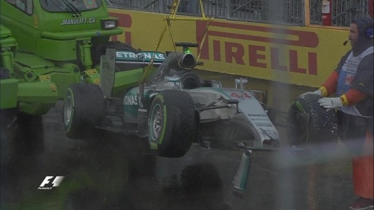Monoposto Hamilton post incidente