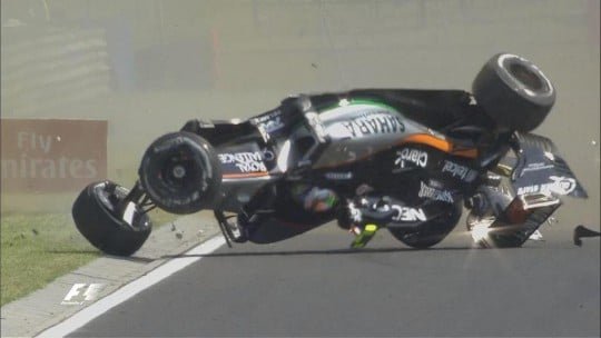 Rottura sospensione Perez FP1