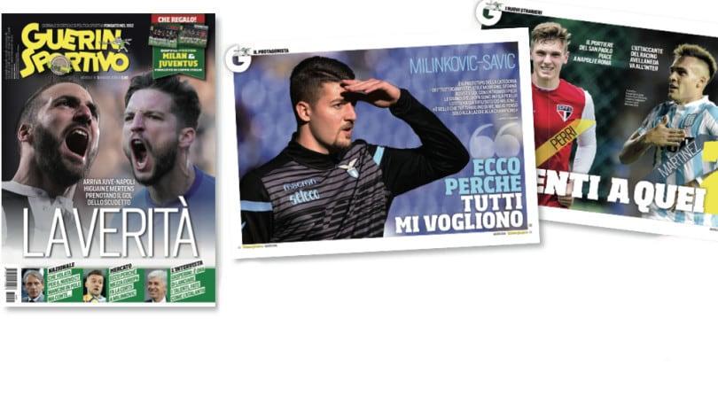 Il nuovo Guerin Sportivo con il doppio poster di Juve e Milan
